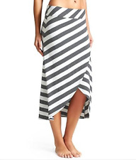PRETTY ATHLETA WOMEN'S IVORY CHARCOAL RIBBON STRIPE MIDI SKIRT Sz M