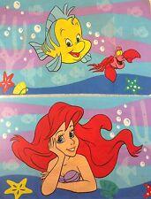 Disney Little Mermaid Standard Size Pillowcase Ariel Flounder Sebastian Set of 2