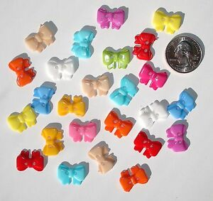 25 Bow Resin Buttons Variety Mix Colors 2-hole sew on