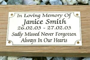 SOLID BRASS MEMORIAL BENCH PLAQUE GRAVE MARKER SIGN PERSONALISED ENGRAVED 2SIZES