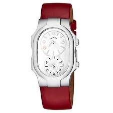 Philip Stein Women's Signature Red Leather Strap Dual Time Quartz Watch 1FSWLR