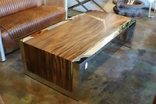 60 L Coffee Table Acacia Wood Polished Stainless Steel Frame Heavy Spectacular