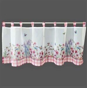 Scheibengardine Blumen & Schmetterlinge 45x120 cm rosa karierter Rand