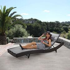Chaise longue Savannah, polyrotin, bain de soleil ~ marron chiné, enveloppe gris
