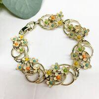Vintage Gold Tone Enamel Flower Ornate Link Bracelet