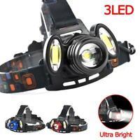 60000LM T6 +COB 3 LED Zoom Headlamp Waterproof 18650 Camping Flashlight Lamp AE