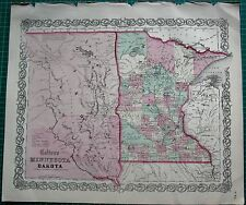 1855 LARGE ANTIQUE MAP-COLTON- MINNESOTA AND DAKOTA