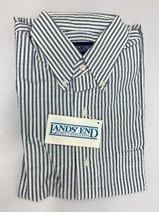 VTG Lands End Men's Dress Shirt Blue / White Stripe Short Sleeve 100% Cotton