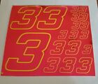 PINK CHROME w/Yellow  #3's Decal Sticker Sheet DEFECTS  1/8-1/10-1/12 RC Mo BoxD