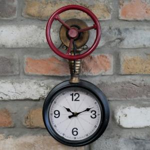 Steampunk Wall Clock Industrial Pipe Retro Urban Factory Themed Metal Wall Clock