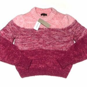 Banana Republic Womens Long Sleeve Crew Neck Pink Color Block Sweater XS Petite