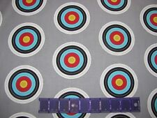 "15 x 43"" ARCHERY SPORTS BULLSEYES TARGET PRACTICE - ROBERT KAUFMAN COTTON FABRIC"