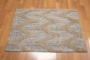 Accent Rug Cotton Wool High Low Pile Brown 2x3 Multi-use Foyer Den Bath Area Rug