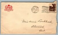 1916 Postal Cover County of Perth Stratford ON to Atwood ON Machine Cancel CDS