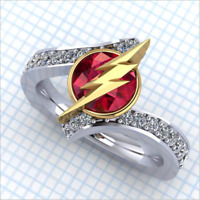 Unique Pokemon Lightning Ruby 925 Silver Wedding Ring Fashion Women Jewelry Gift
