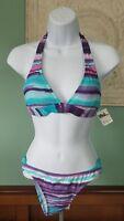 Billabong Women's Pink Teal Purple Tie Dye Swim Suit 2 Piece Bikini Size M, NWT