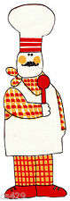 "9"" Italian chef baker cook waiter white apron fabric applique iron on"