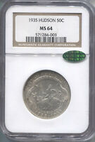 1935 Hudson Silver Commemorative Half Dollar - NGC MS-64 CAC - Mint State 64 CAC
