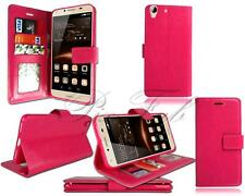 For Huawei Y6 II Compact & Y5 2 New Black Pink Leather Wallet Phone Case Cover