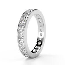 2.00 Ct Princess Diamond Channel Set Full Eternity Ring, UK Hallmarked Platinum