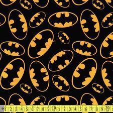 David Textiles Fabric Batman Logo Emblems PER METRE Licensed Bat Man Comic DC Su