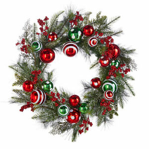"""26"""" ICED Ornament BALL WREATH Red White Green Christmas RAZ Imports W4002252 NEW"""