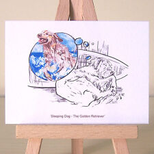 Golden Retriever beach dream mixed media dog drawing ACEO card