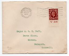 Southampton 1st Day Cover 20th Aug 1934 sg 441 control V 34to Major Duff ( FDC )