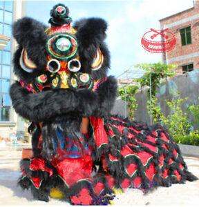 Black Lion Dance Mascot Costume MAO Nan Lion for Chinese Folk Art of Two Adults