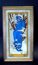 Glasmalerei  im Jugendstil - mystische Dame in Winterlandschaft