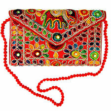 India Red Hand Elephant Embroidered Envelope Bag Tablet Case w/Strap US SELLER