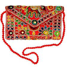 US SELLER   India Red Hand Elephant Embroidered Envelope Bag Tablet Case w/Strap