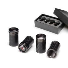 4xCarbon Fiber Car Emblem Wheel Tire Valve Dust Stems Air Caps Fit Mugen Black