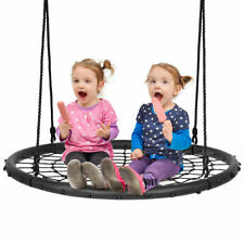 More details for 100 cm spider web tree swing set kids outdoor round net rope swing adjustable