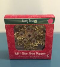 "TREE TOPPER MINI  GOLD STAR  6"" CHRISTMAS  MERRY BRITE  NEW IN BOX"