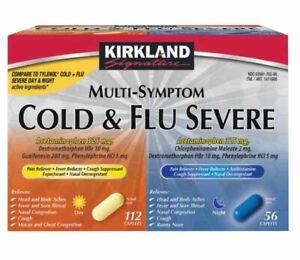 Kirkland COLD & FLU Multi-Symptom Daytime 2 x 60 Caplets & Nighttime 48 Caplets
