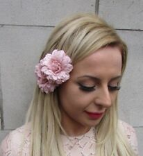 Nude Pink Double Rose Flower Hair Clip Bridesmaid Dusky Fascinator Wedding 5258