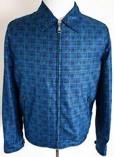 $5180 BRIONI Blue Plaid 100% Silk Water Resistant Jacket Size Large