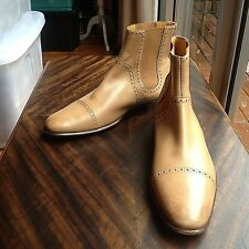 HERMES BROGUE SEMELLE CUIR MENS BOOTS AUTHENTIC SIZE 43 MADE IN ITALY EUC