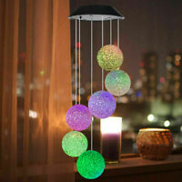 Hanging Wind Chimes Solar Powered LED Light Colour Changing Outdoor Garden Decor