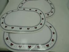 "Vintage Set 4 Placemats 4 12"" x 18"" Kane Industry Heart Border WASHABLE Plastic"