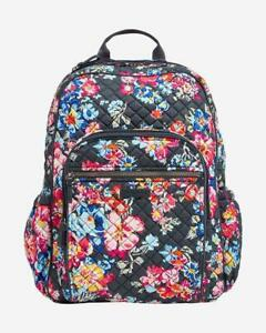 Vera Bradley Iconic Campus Backpack Pretty Posies NWT Signature Cotton Quilted