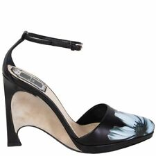 59358 auth CHRISTIAN DIOR black FLORAL leather Wedge OPEN Pumps Shoes 37