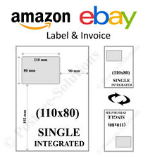 Ebay & Amazon Integrated Invoice Paper Labels Various Quantity's 110x80 mm