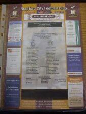 Reserves Bradford City Teams A-B Football Programmes