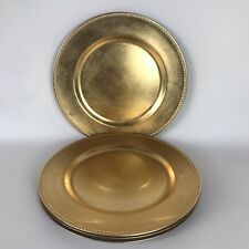 "13"" Gold Round Charger Plates Decor Wedding Catering Event - Lot of 4"