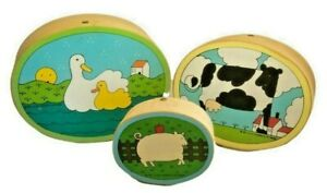 3 Nesting Oval Boxes Wooden Cow Duck Pig Country Farm Lillian Vernon 1982