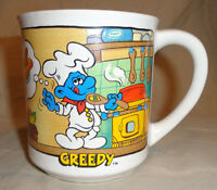 Smurf 1982 The Smurfs Coffee Mug Cup Peyo dinner Party Greedy Smurf