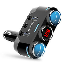 LED 2 Socket Car Cigarette Lighter Adapter Splitter 12-24V Dual USB Car Charger