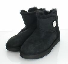 20-70 Women's Sz 8 M UGG Mini Bailey Button Bling Suede Short Boots In Black